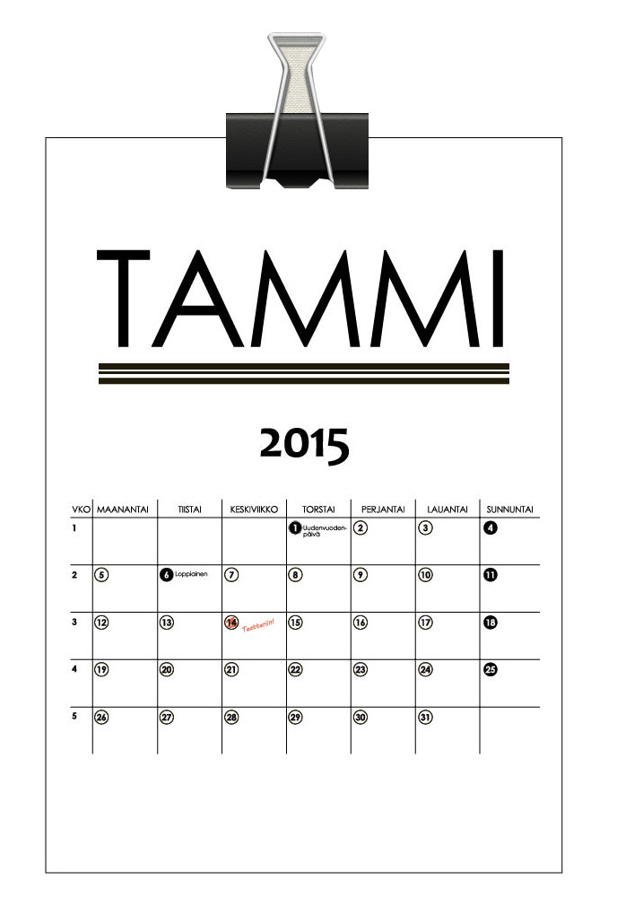 Printtaa kalenteri vuodelle 2015