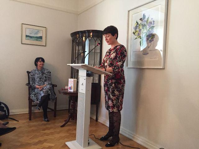 Marian Keyes listening to Ambassador Maeve Collins speech Irish Embassy 7.5.2018 Pic Courtesy of Irish Embassy (small pic).jpg