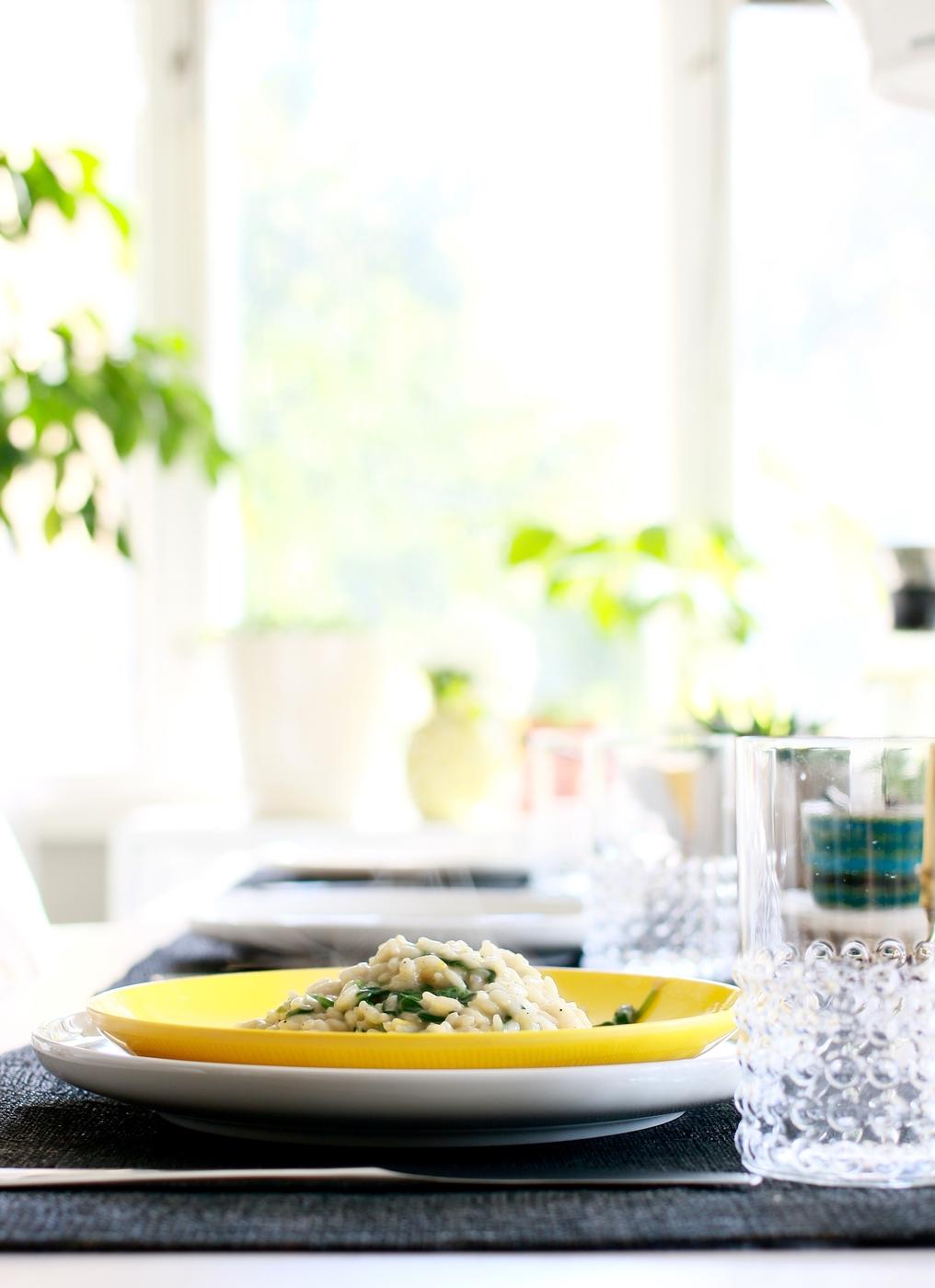 Sitruuna-pinaatti risotto