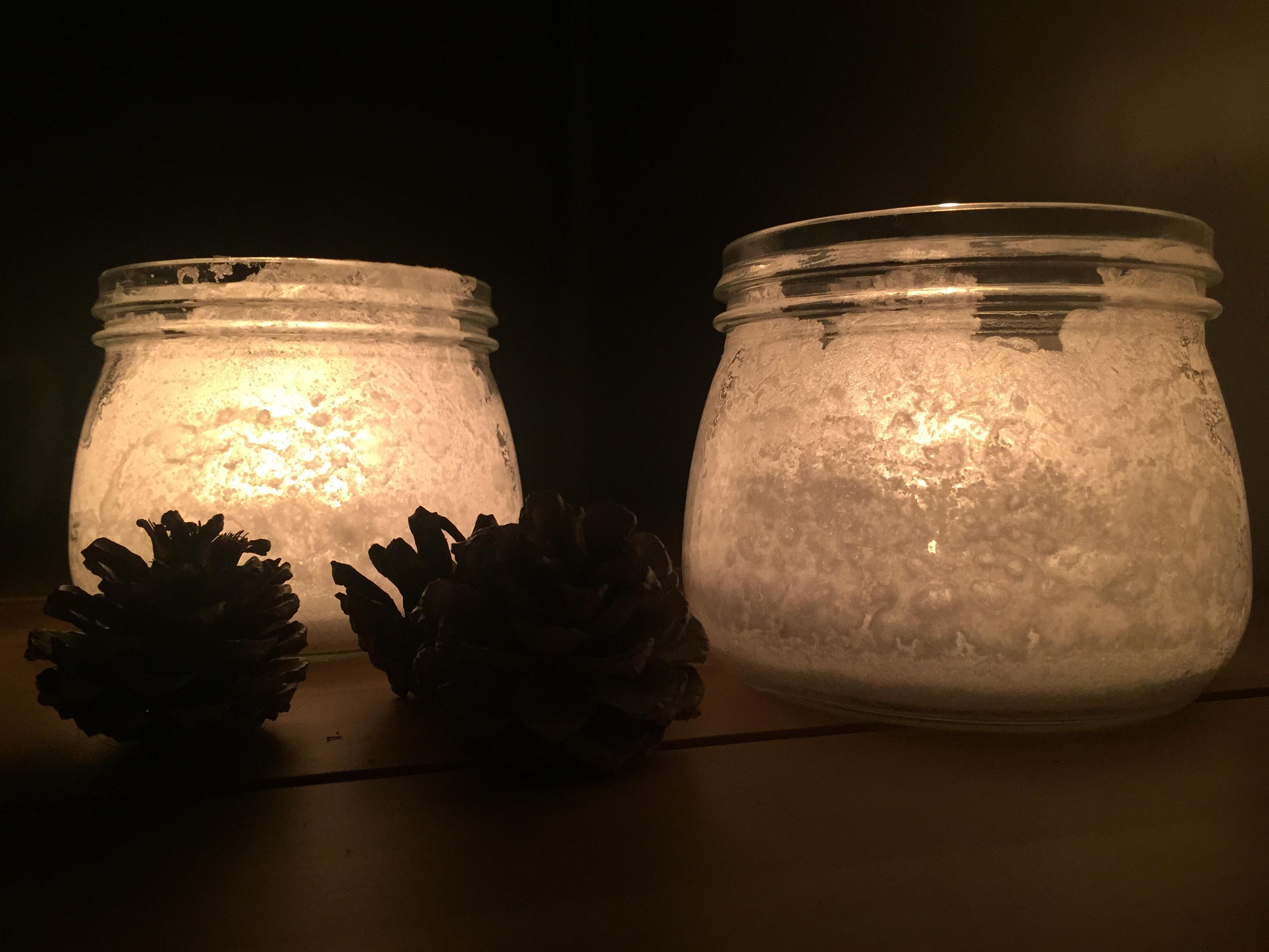 DIY huurteiset kynttiläkupit