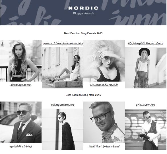 Zalando Nordic Blogger Awards 2015 -ehdokkuus