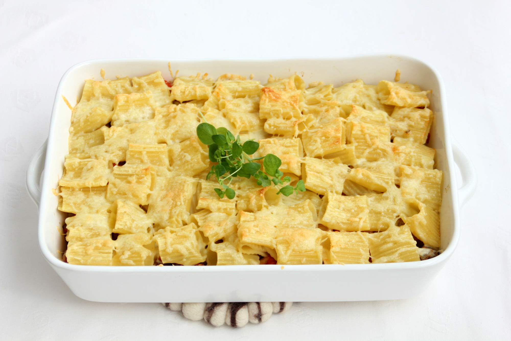 Rigatoni-munakoiso uunivuoka