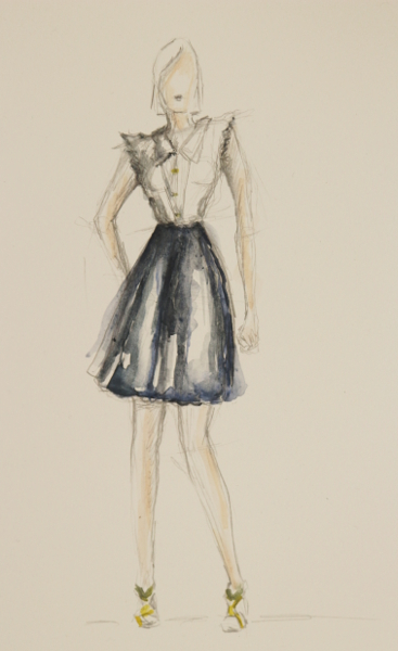 Muotikuvitus, fashionillustration, second hand, sketch