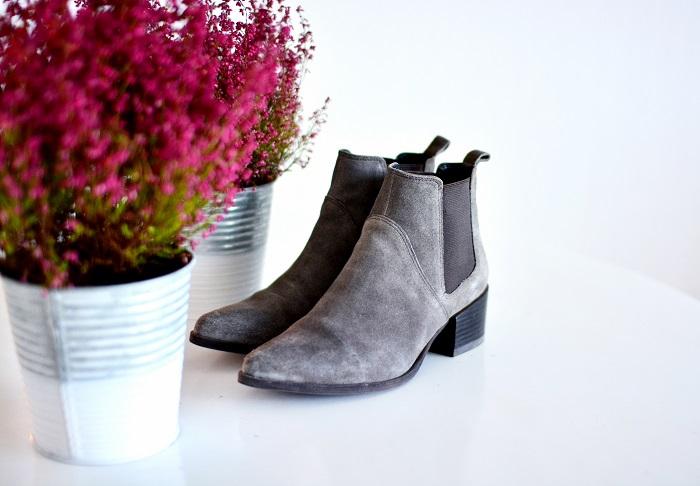 Grey suede