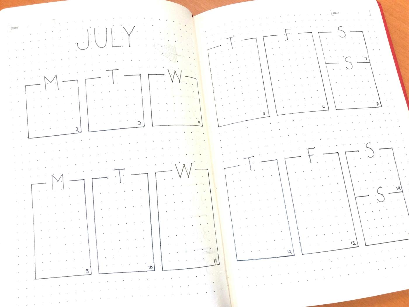 Bullet journal / Minimalistinen heinäkuu