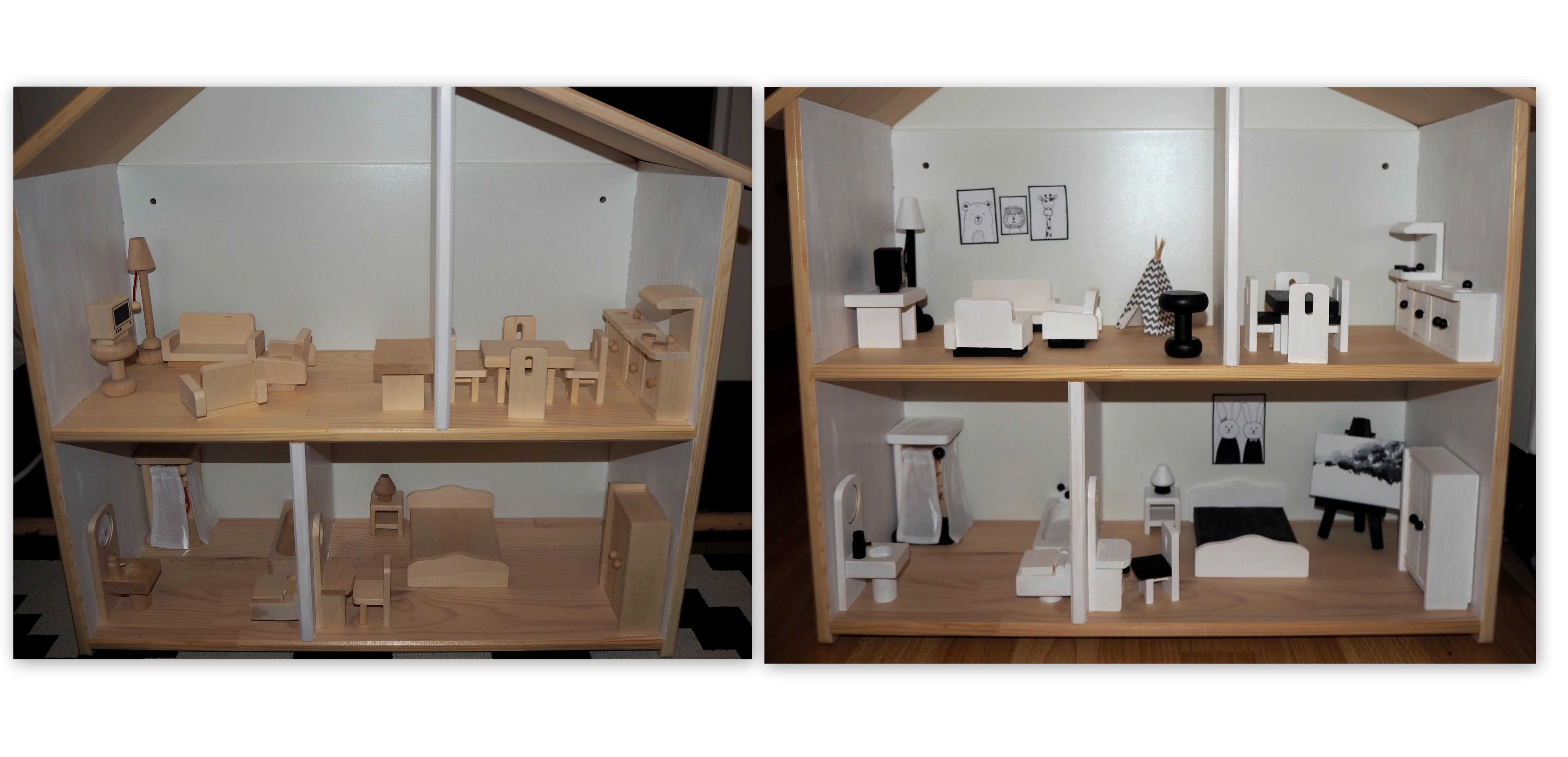Nukkekoti ennen ja jälkeen huonekalujen maalauksen.jpg