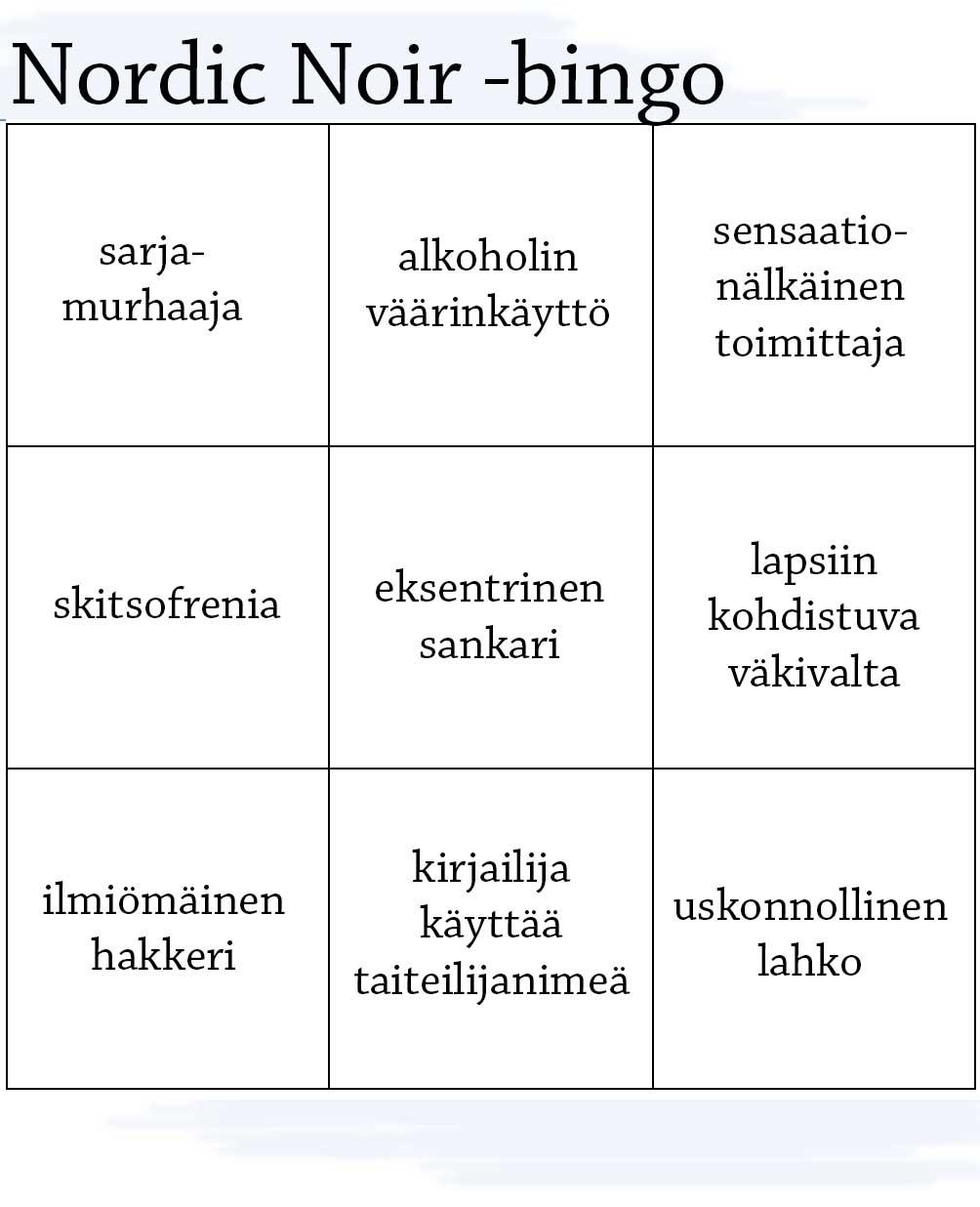 Pohjoismainen rikoskirjallisuus -bingo