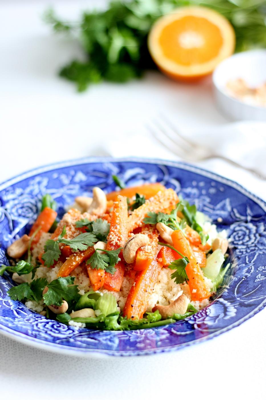 Porkkanasalaatti dukkah-mausteseoksella