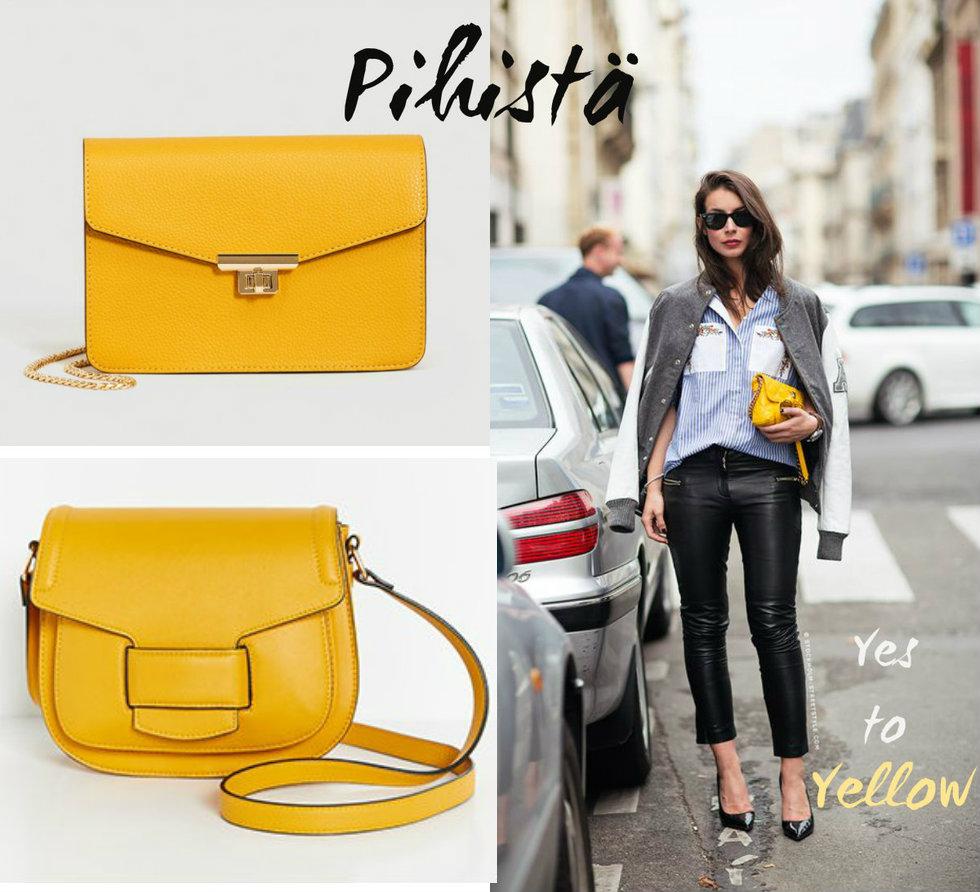 Pihistä tai panosta  keltainen pikkulaukku – Minnean muruja  5ca0d93627