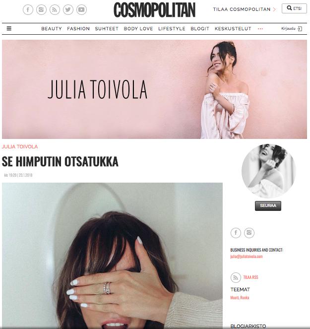 Julia Toivolan otsiskriisin ratkaisu