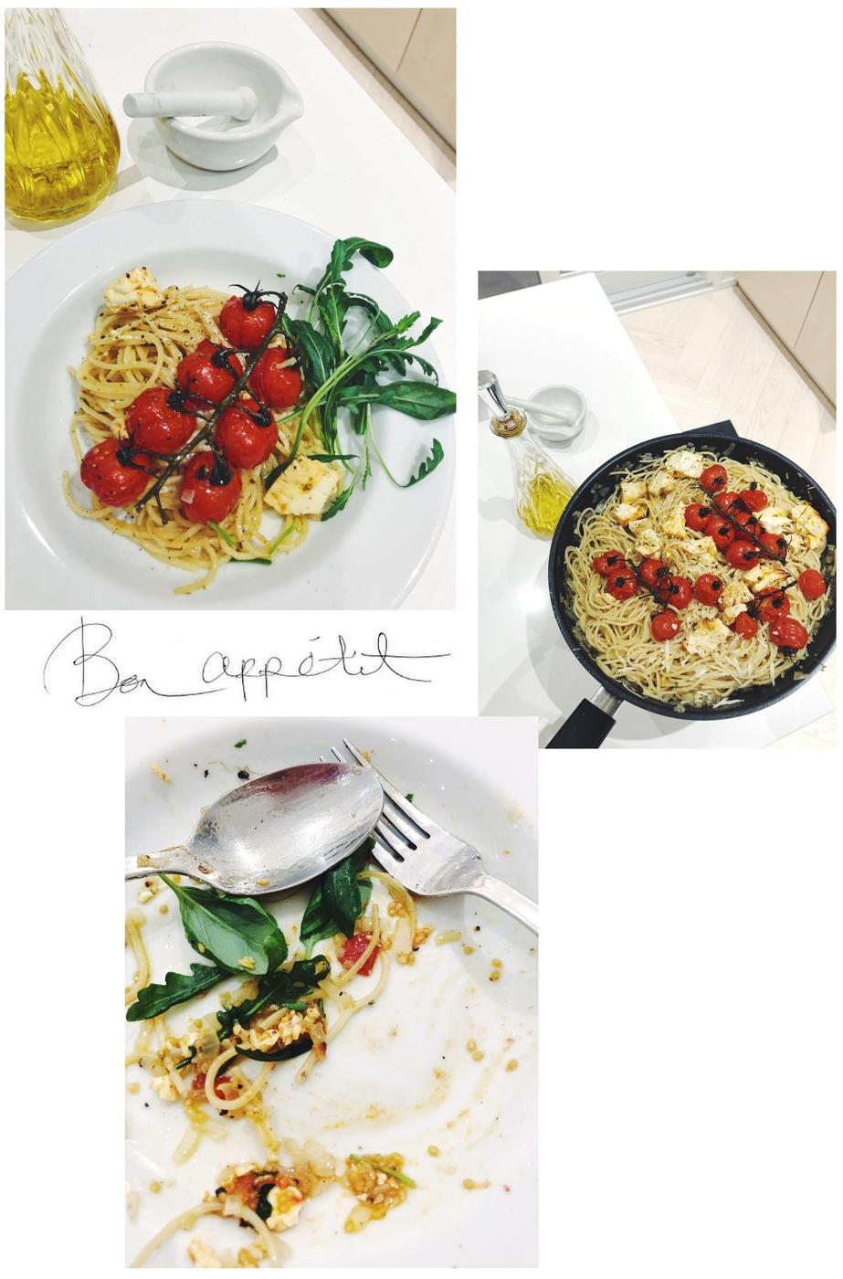proseccospaghetti ja uunitomaatit