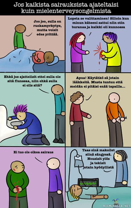 jos kaikista sairauksista ajateltaisiin kuten mielenterveysongelmista