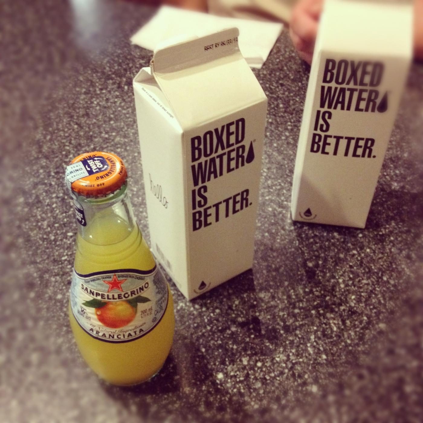 Boxed water, iced coffee