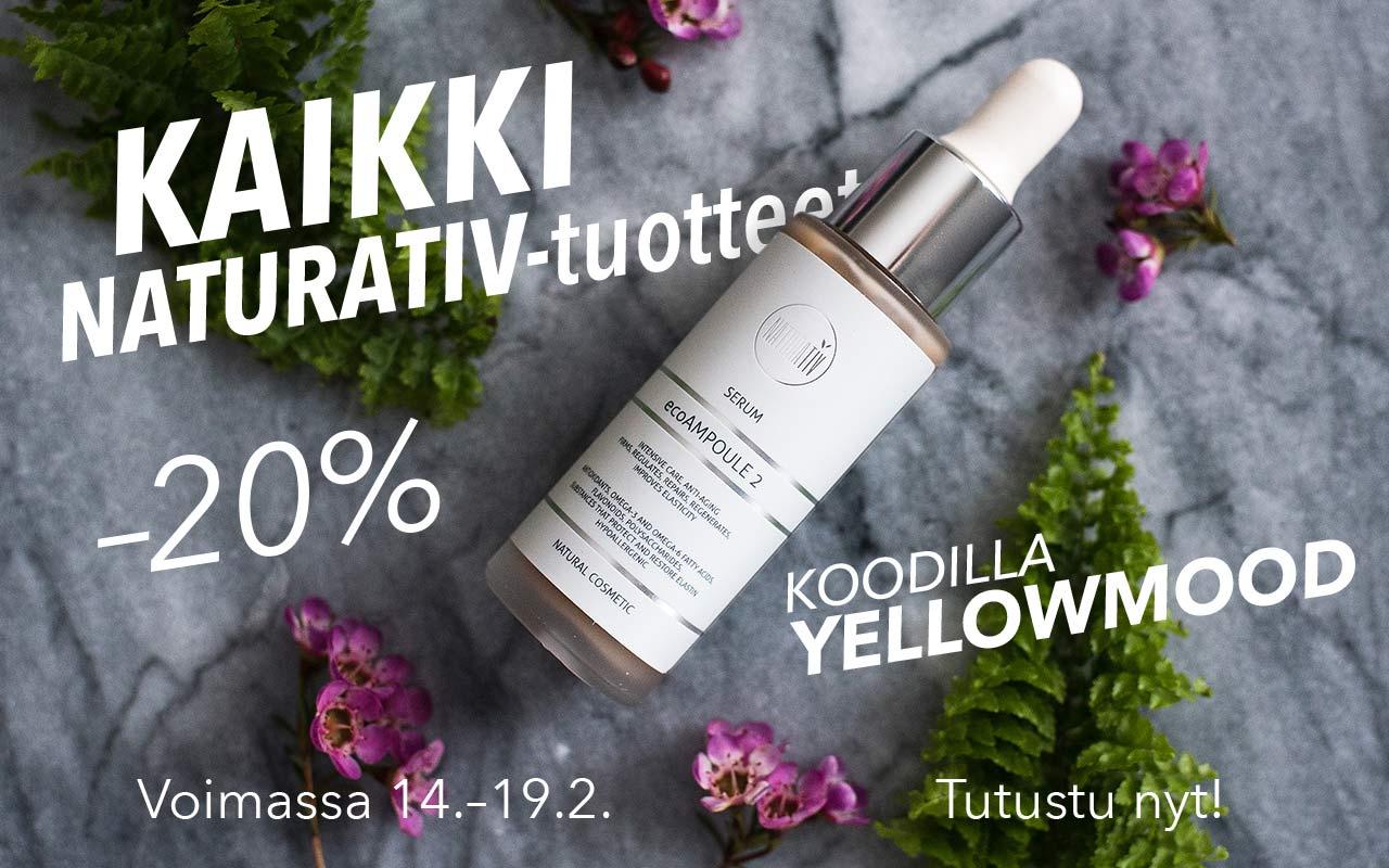 -20 % alennus Naturativ-luonnonkosmetiikkasarjasta 19.2. saakka!