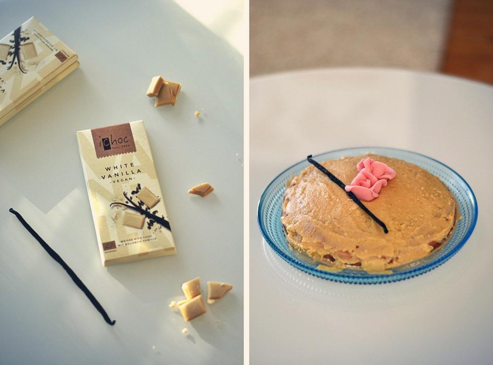 Valkosuklaavanilja kakku, vegaaninen ja gluteeniton
