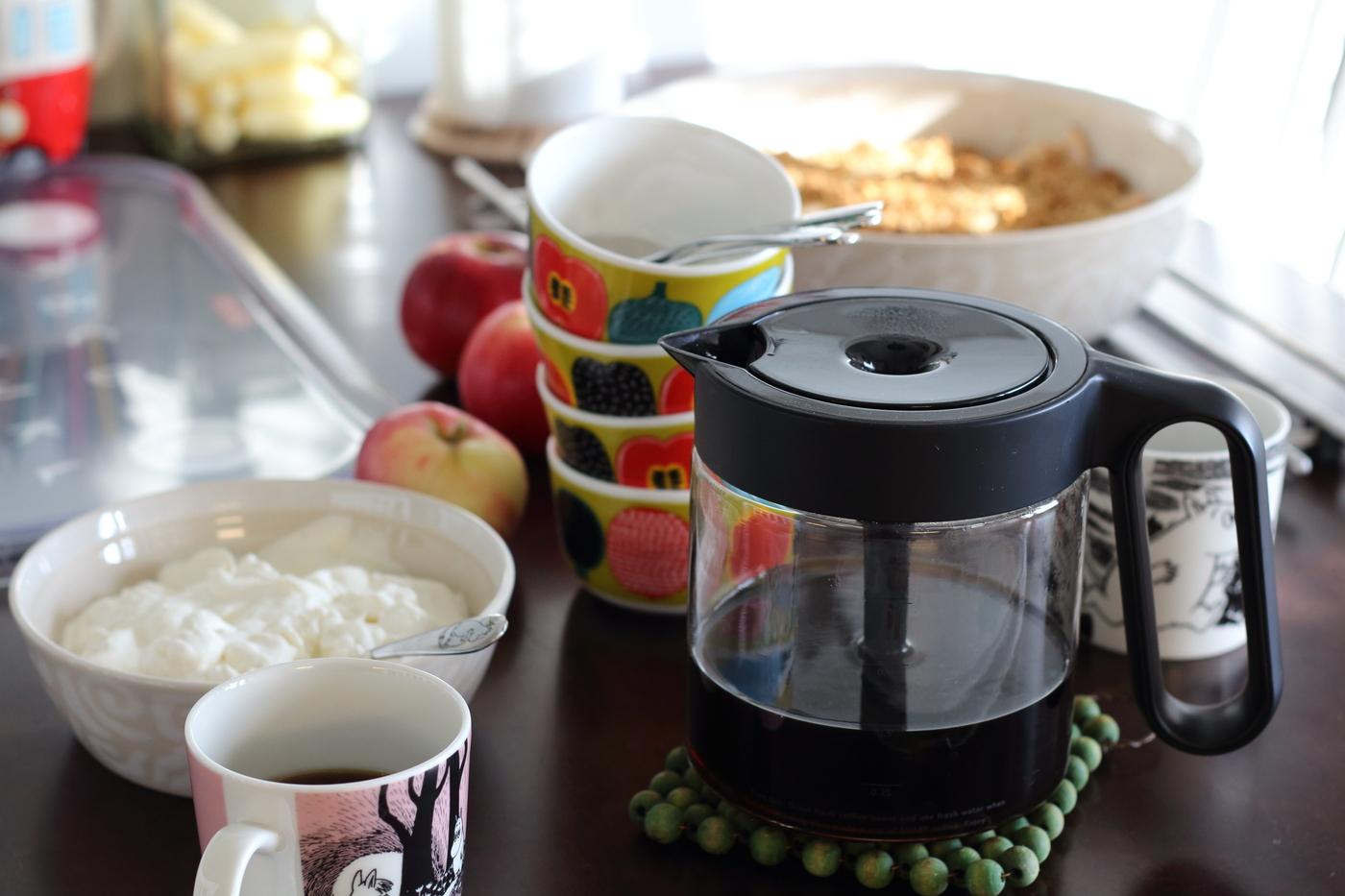 Kahvia ja omenapaistosta
