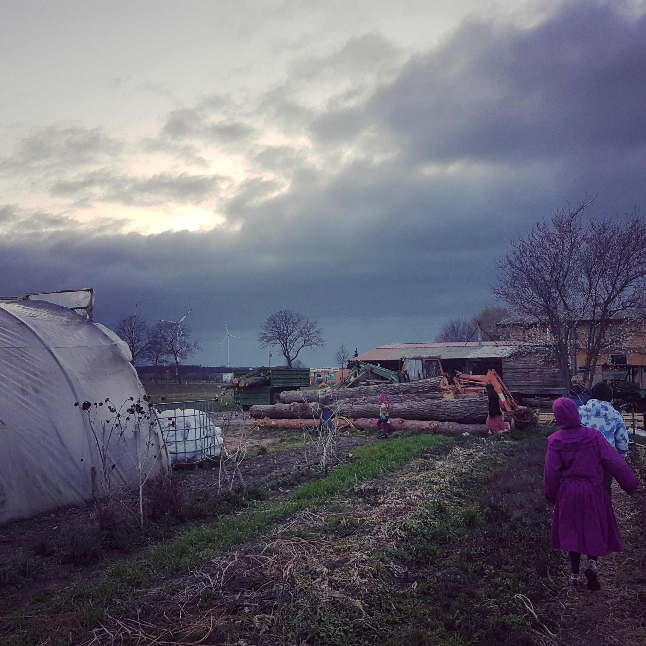 Farm on a cold spring day