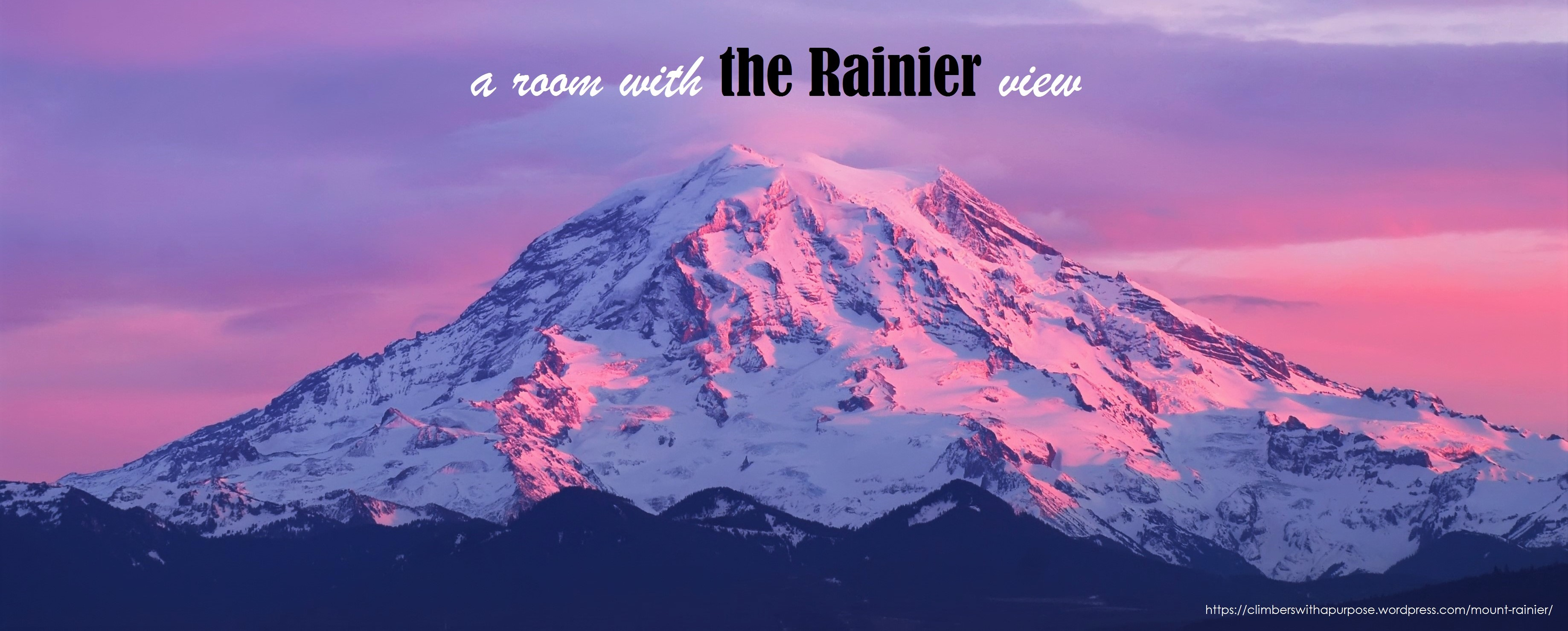 a room with the Rainier view