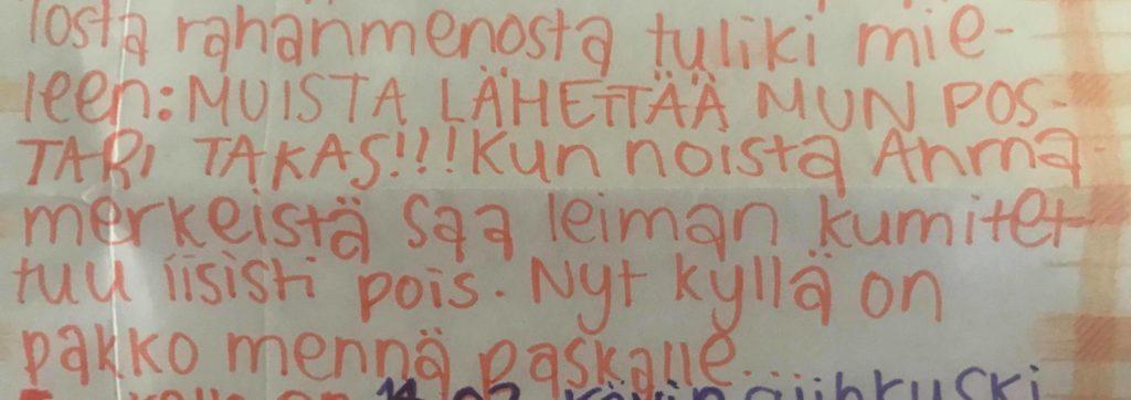"""""""Hesan kessas käytii syömäs Forumin Rax:issa (toi oli eka kerta kun syön Raxis). Tosi hyvät safkat."""" – Siljan kirje Johannalle 1.8.1996"""