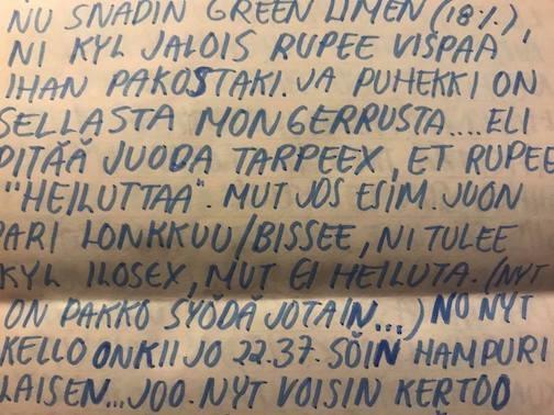 """""""Ois kyl ihanaa olla Juuson kans. Sil on mopoki… ah"""" – Siljan kirje Johannalle 28.12.1995–8.1.1996"""