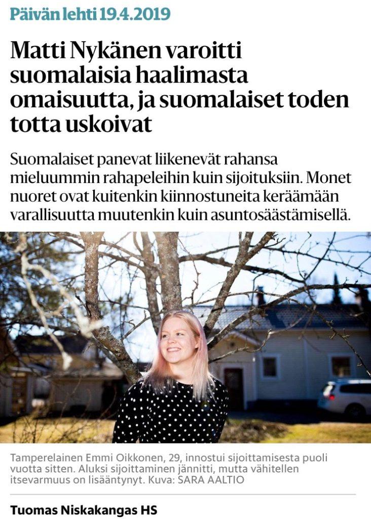 Sijoittamisesta ei puhuta - Emmi Oikkonen kertoo omasta sijoittamisestaan Helsingin Sanomissa