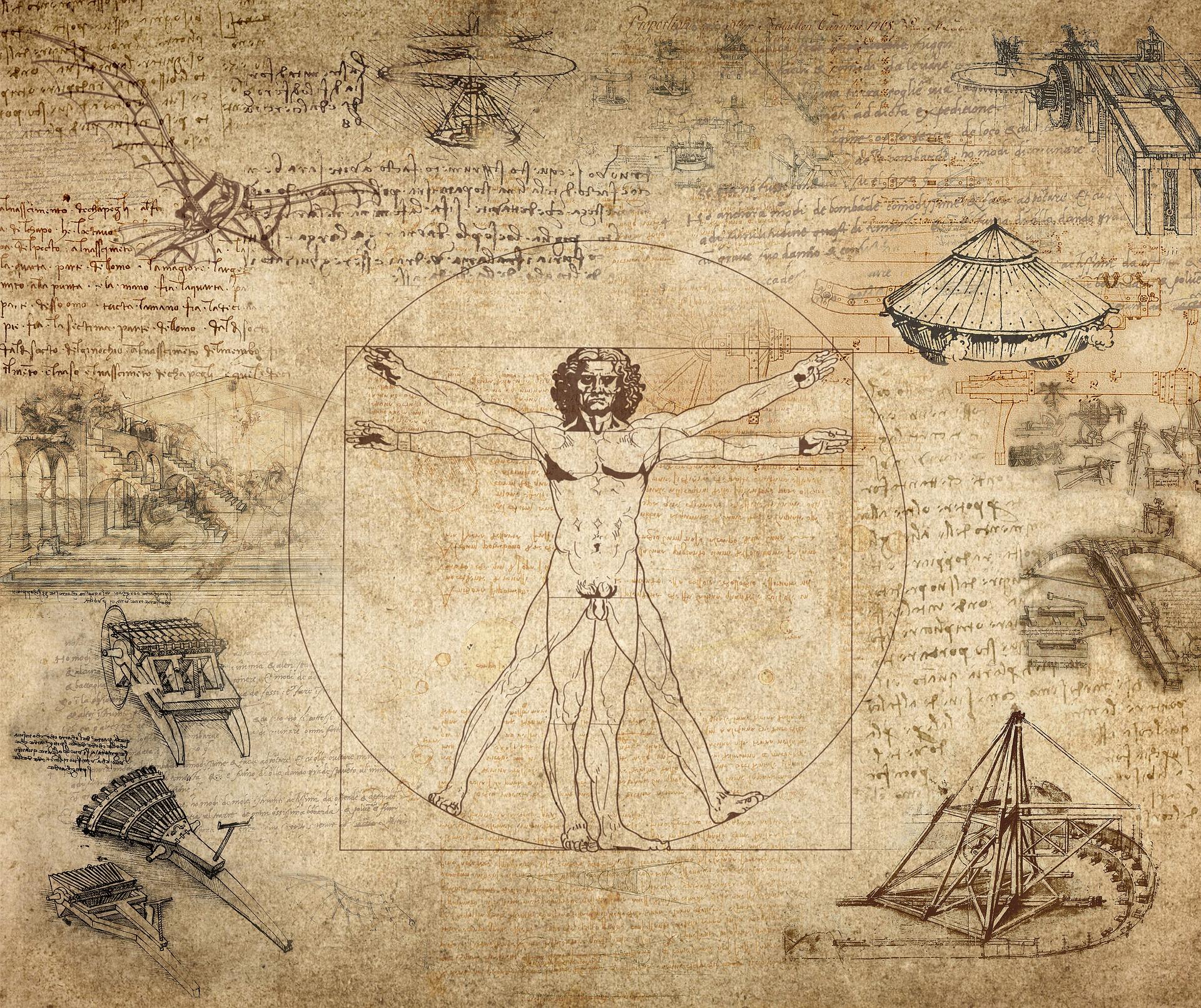 Kuvassa Leonardo da Vincin piirroksia.