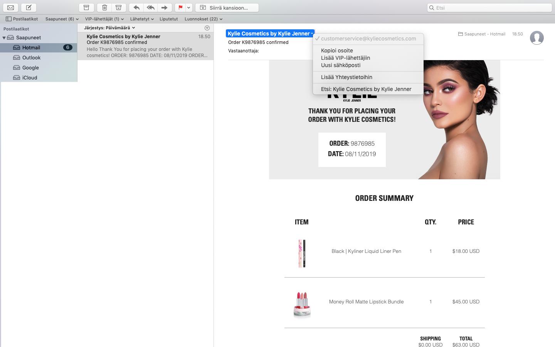 Kylie Cosmetics tilaaminen Suomeen