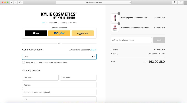 Kylie Cosmetics tilaus
