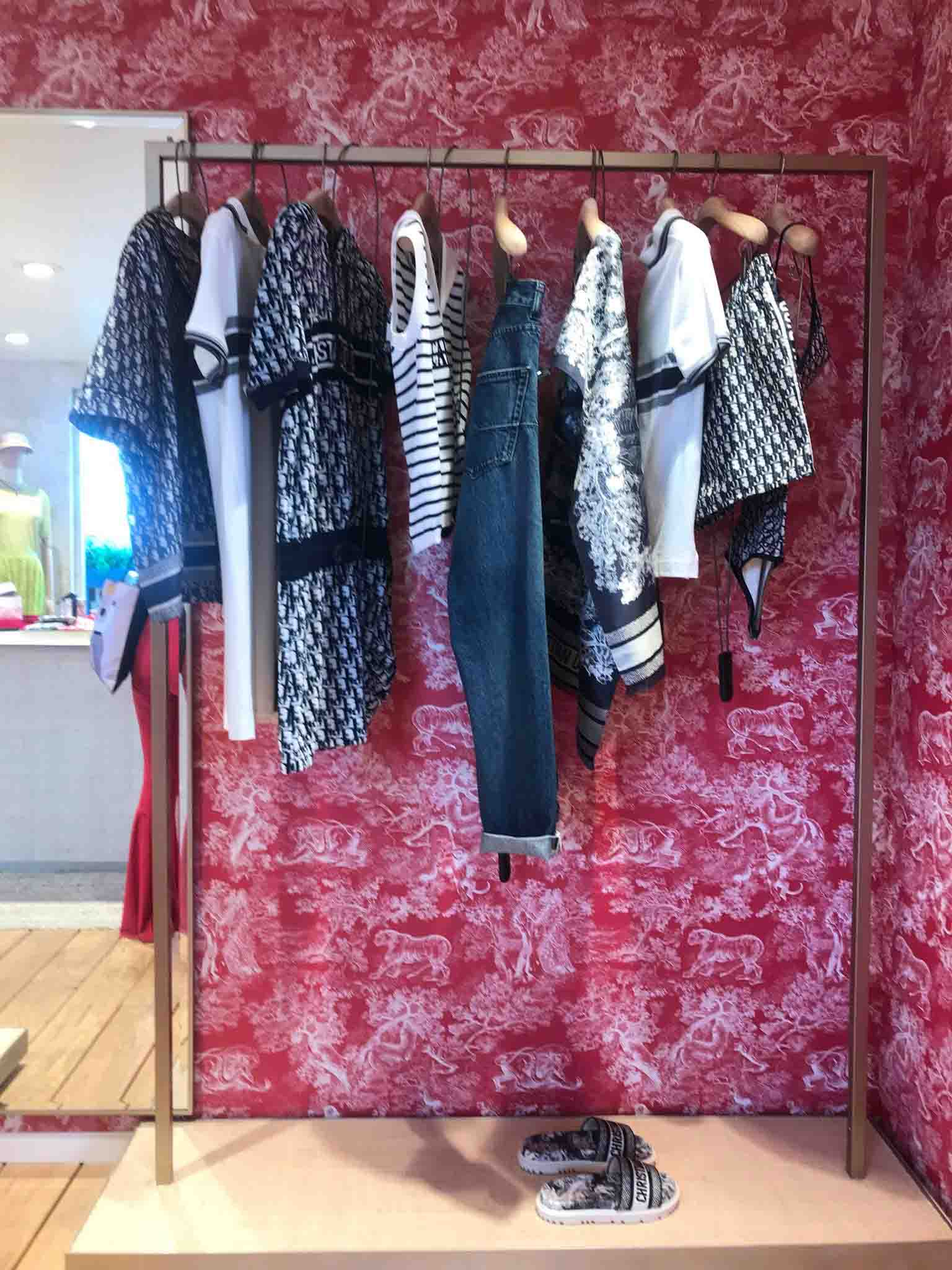 Rosana Eats Dior Cafe London clothing rack