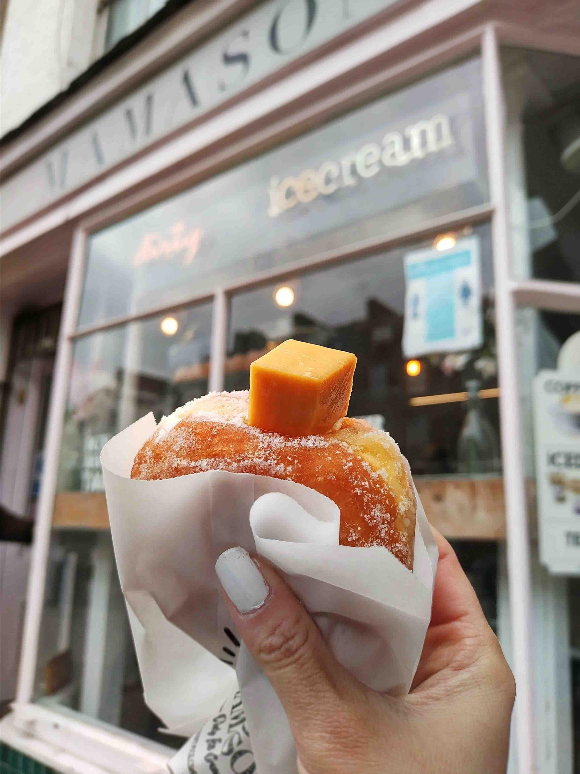 Rosana Eats Mamasons Leche Flan Doughnut