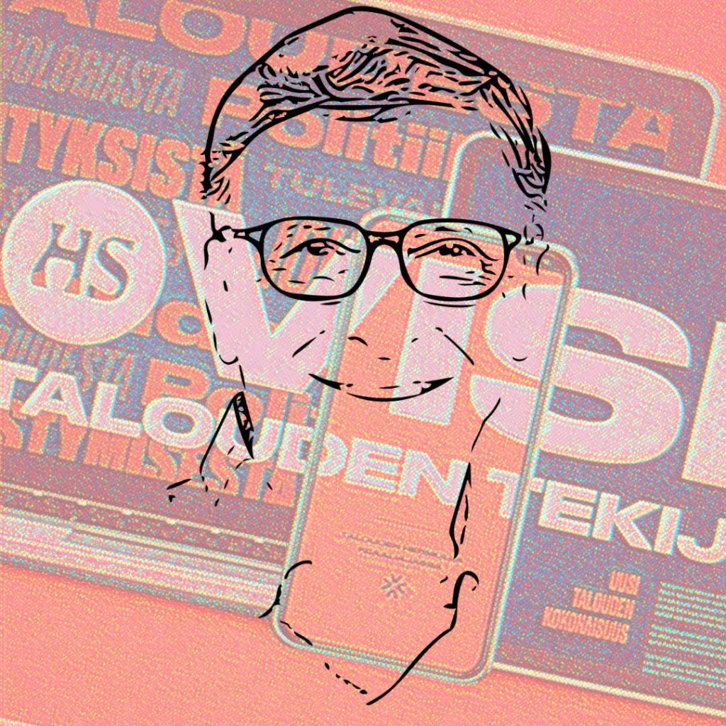 Piirros Bill Gatesista HS Vision logon päällä - again mad photoshop skillz.