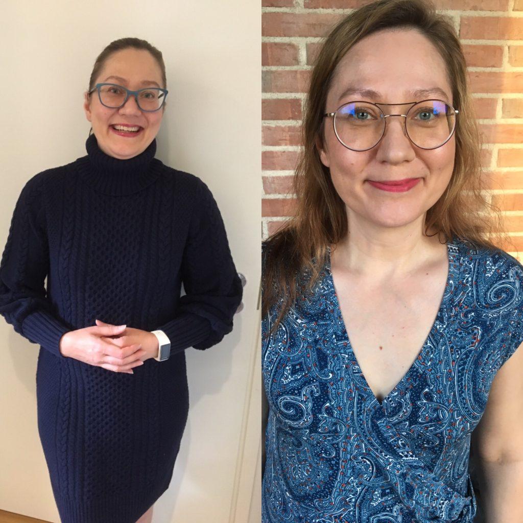 Kaksi kuvaa minusta, jossa painoa toisessa +13 kiloa ja toisessa -13 kiloa.