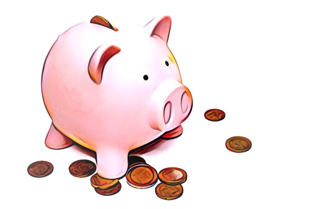 Säästöpossu ja rahaa.