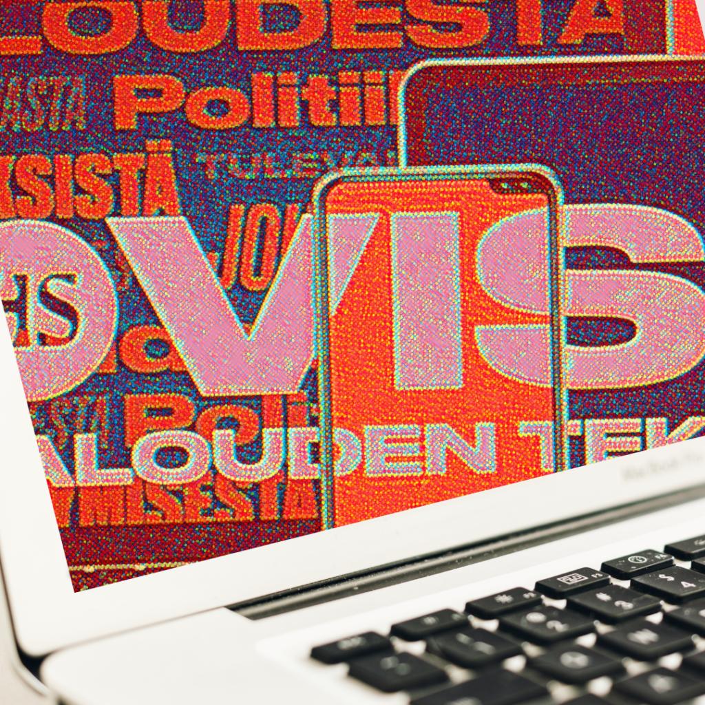 Kuva tietokoneesta ja HS visio logosta - I got mad photoshop skillz.
