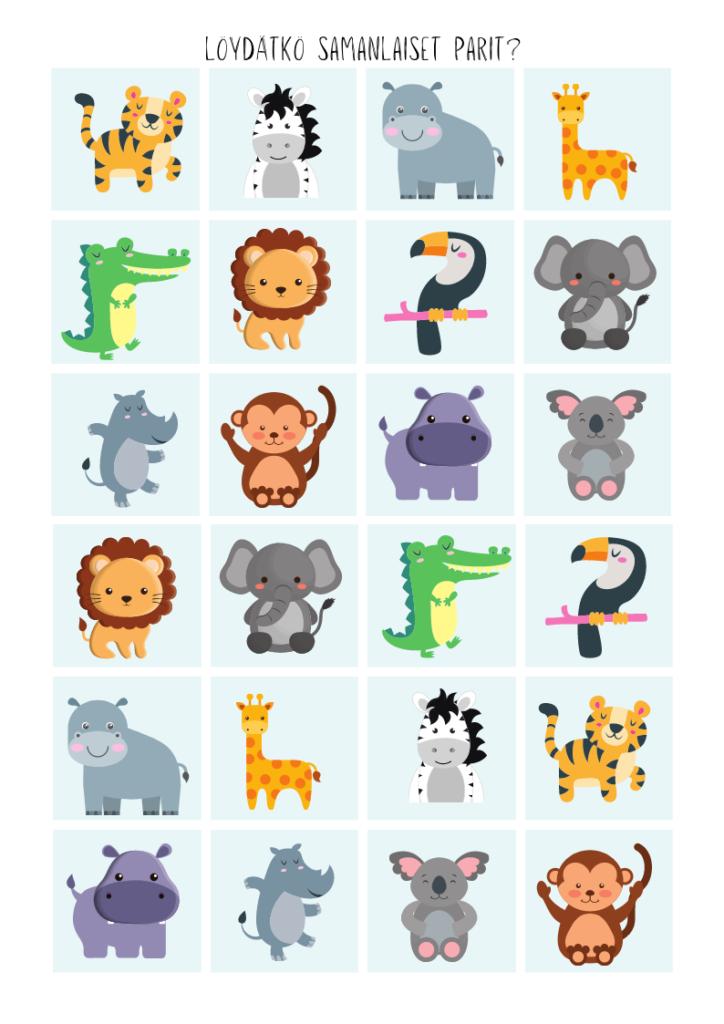 Löydätkö kuvasta kaikki samanlaiset viidakon eläimet