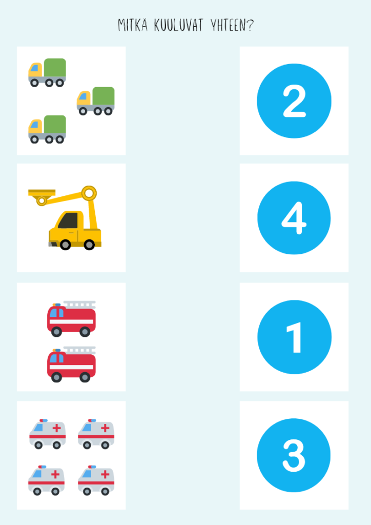 Osaatko laskea kuinka monta autoa