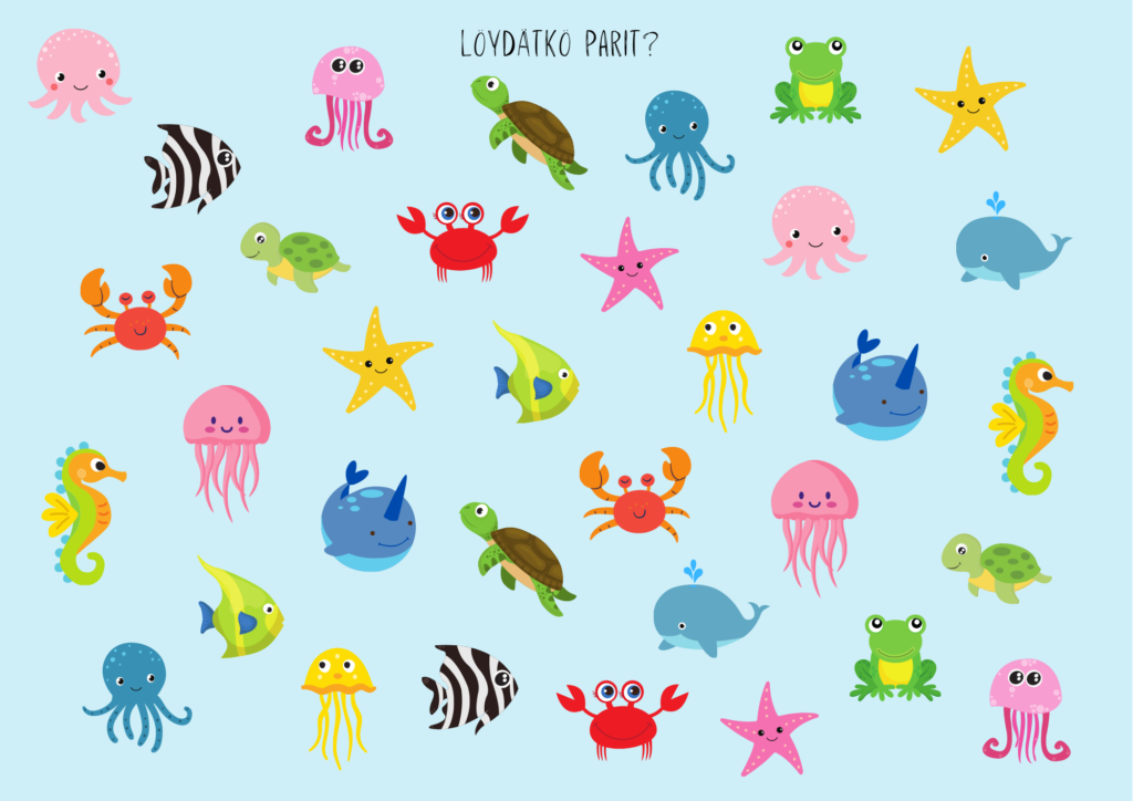 Löydätkö samanlaiset parit mereneläimille